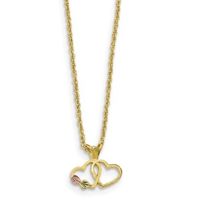 Picture of 10k Tri-Color Black Hills Gold Double Heart Necklace