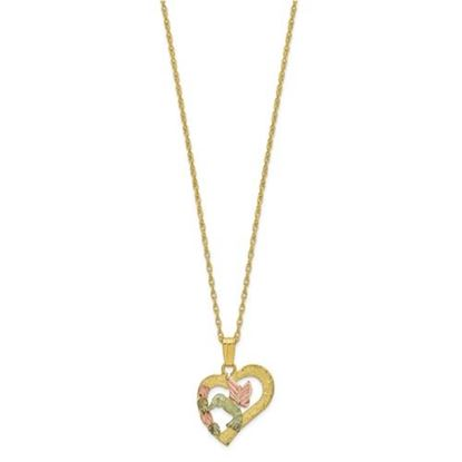 Picture of 10k Tri-Color Black Hills Gold Hummingbird Heart Necklace