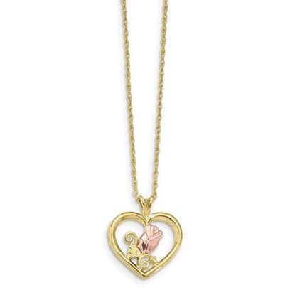 Picture of 10k Tri-Color Black Hills Gold Rose Heart Necklace