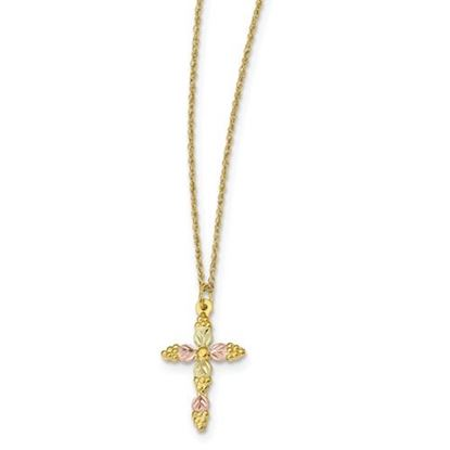 Picture of 10k Tri-Color Black Hills Gold Cross Necklace