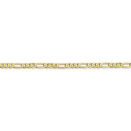 10k Yellow Gold 2.75mm Flat Figaro Chain Necklace Lobster Clasp