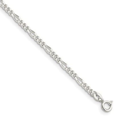Picture of 9 inch Sterling Silver 2.5mm Figaro Chain Anklet