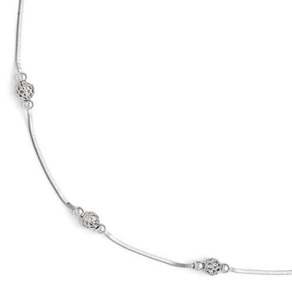 Picture of 9 inch Leslie's Sterling Silver Polished and Textured Beaded Anklet with 1 inch extension