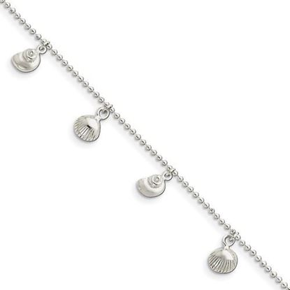 Picture of 9 inch Sterling Silver Polished Sea Shell Anklet