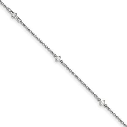 Picture of 9 inch Sterling Silver Rhodium-plated Fancy CZ's Anklet with 1 inch extension