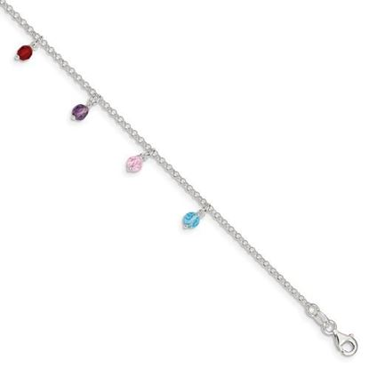 Picture of 9 inch Sterling Silver and Multi-colored Beads Polished Anklet with 1 inch extension