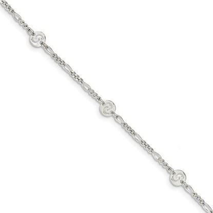 Picture of 9 inch Sterling Silver Polished Swirl Disc Anklet with 1 inch extension