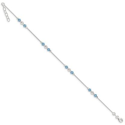 Picture of 9 inch Sterling Silver Polished Bead and CZ Anklet with 1 inch extension