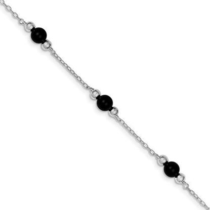 Picture of 9 inch Sterling Silver Rhodium-plated 9inch Polished Onyx Anklet