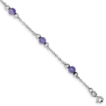 Picture of 9 inch Sterling Silver Rhodium-plated 9inch Polished Lavender Jade Anklet