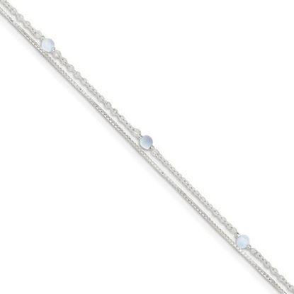 Picture of 9 inch Sterling Silver Clear Crystal Beaded Anklet