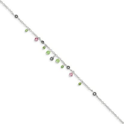 Picture of 9 inch Sterling Silver Pink Crystal Green Quartz and Peridot Bead Anklet