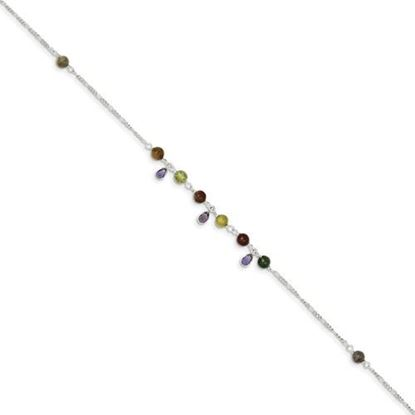 Picture of 9 inch Sterling Silver Fancy Jasper Anklet