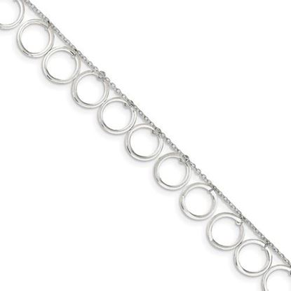Picture of 10 inch Sterling Silver Dangle Circles Anklet