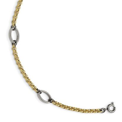 Picture of 9.5 inch Stainless Steel Polished Yellow IP-plated Anklet