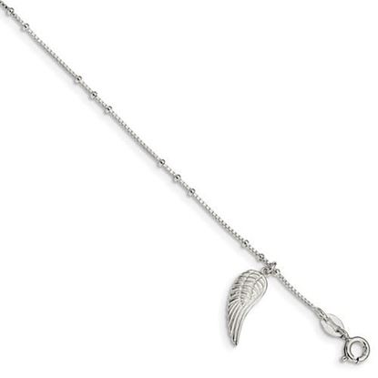 Picture of 9 inch Sterling Silver Polished Wing Dangle Anklet with 1 inch extension