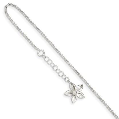 Picture of 9 inch Sterling Silver Polished Flower Anklet with 1 inch extension