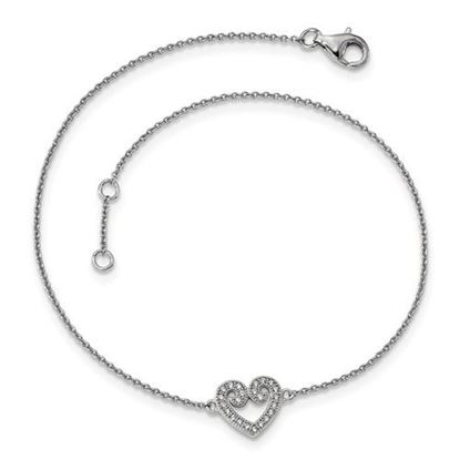 Picture of 9 inch Sterling Silver and CZ Brilliant Embers Polished Heart Anklet with 1 inch extension