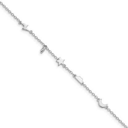 Picture of 9 inch Sterling Silver Rhodium-plated Sky Shapes Anklet