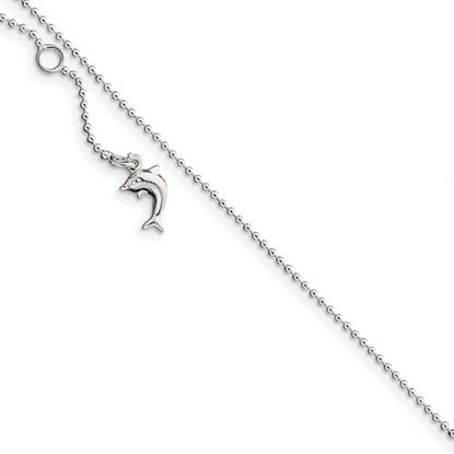 Picture of 10 inch Sterling Silver Polished Dolphin Anklet