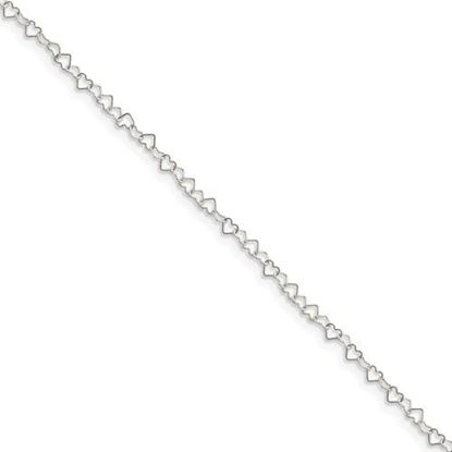 Picture of 10 inch Sterling Silver 0.5mm Fancy Heart Link Anklet