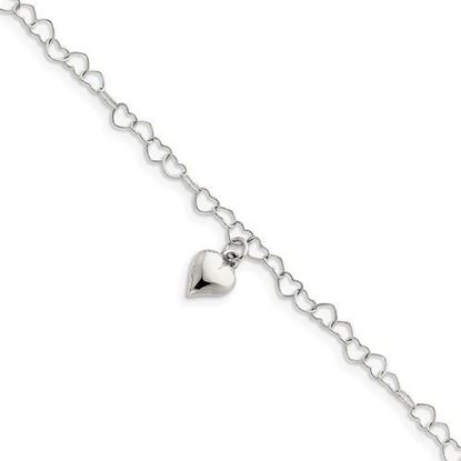 Picture of 9 inch Sterling Silver Polished Fancy Link Puffed Heart Anklet with 1 inch extension
