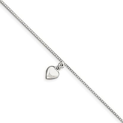 Picture of 10 inch Sterling Silver Polished 3-Dimensional Puffed Heart Anklet