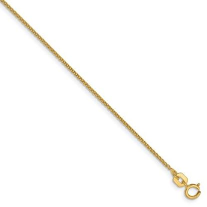 Picture of 7 inch 14k Yellow Gold 1mm Solid Diamond Cut Spiga Chain Bracelet