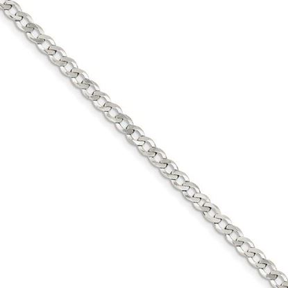 Picture of 7 inch Sterling Silver 4.5mm Close Link Flat Curb Chain Bracelet