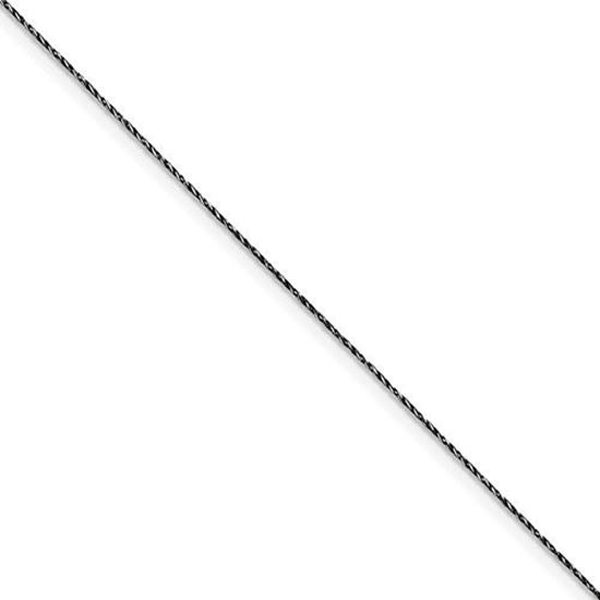 Picture of 7 inch Sterling Silver Ruthenium-plated .75mm Twisted Tight Wheat Chain Bracelet