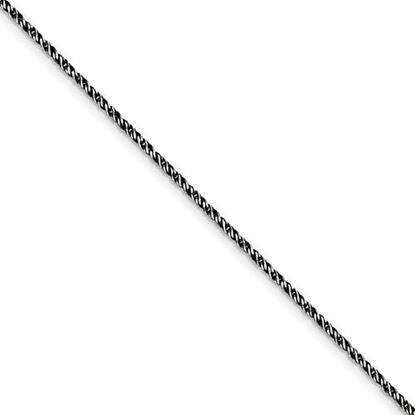 Picture of 7 inch Sterling Silver Ruthenium-plated 1.7mm Twisted Tight Wheat Chain Bracelet