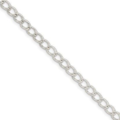Picture of 8 inch Sterling Silver 4.5mm Half round Wire Curb Chain Bracelet