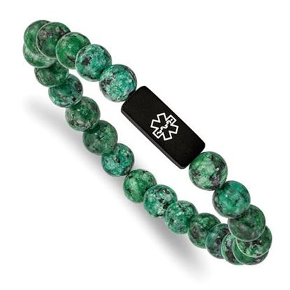 Picture of Stainless Steel Brushed Black IP Medical Dyed Green Bead Stretch Bracelet