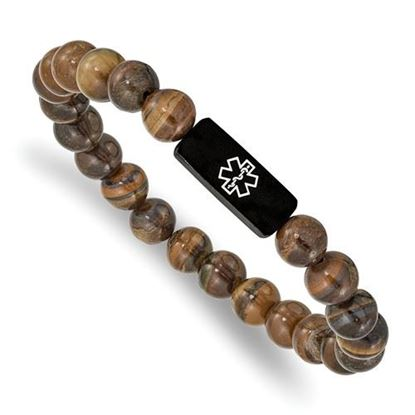 Picture of Stainless Steel Brushed Black IP Medical ID Tiger's Eye Stretch Bracelet