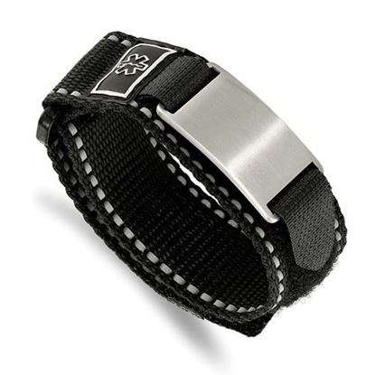 Picture of Stainless Steel Brushed Black Nylon Adjustable Velcro Close Medical Bracelet