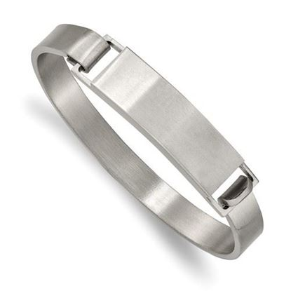 Picture of Stainless Steel Brushed ID Cuff 7.80mm Bangle Bracelet