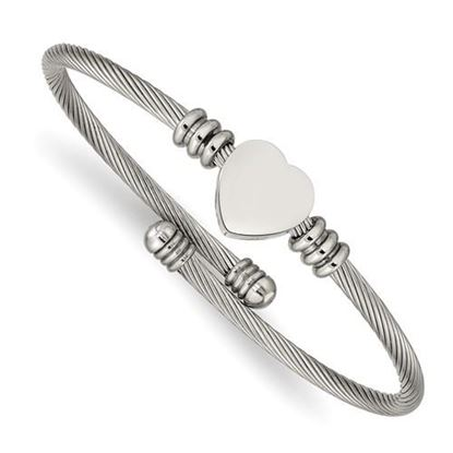 Picture of Stainless Steel Polished Heart Flexible Bangle Bracelet