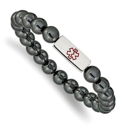 Picture of Stainless Steel Polished Medical ID Plate Hematite Bead Stretch Bracelet