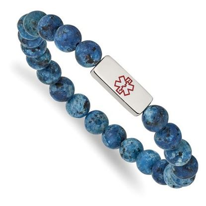 Picture of Stainless Steel Polished Medical ID Plate Lapis Bead Stretch Bracelet