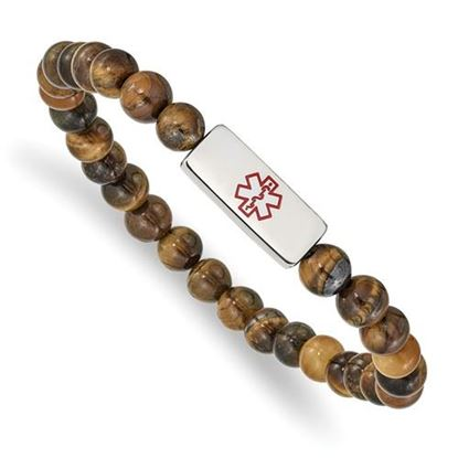 Picture of Stainless Steel Polished Medical ID Tiger's Eye Bead Stretch Bracelet