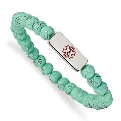 Picture of Stainless Steel Polished Medical ID Turquoise Glass Stretch Bracelet