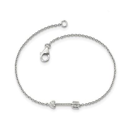 Picture of Sterling Silver Polished Arrow Heart CZ Bracelet