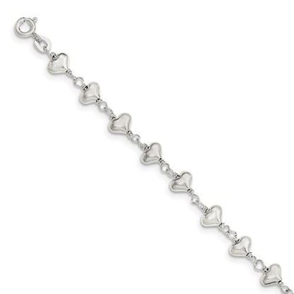 Picture of Sterling Silver Polished Heart link Bracelet