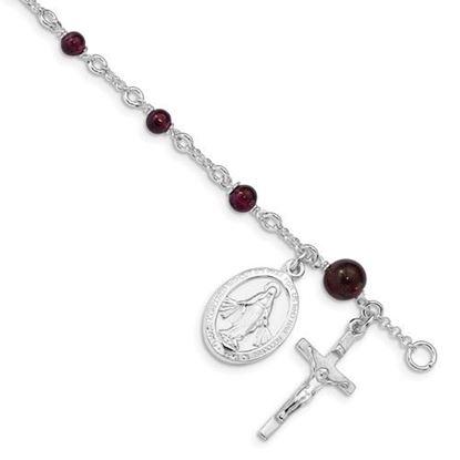 Picture of 6 inch Sterling Silver and Rhodolite Garnet Polished Children's Rosary Bracelet