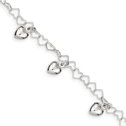 Picture of 6 inch Sterling Silver Dangling Heart Bracelet