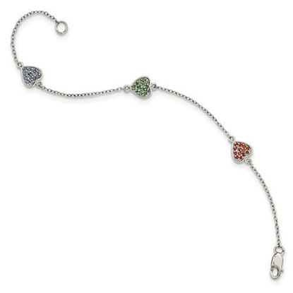 Picture of 6 inch Sterling Silver Polished Heart Glass Stone Bracelet