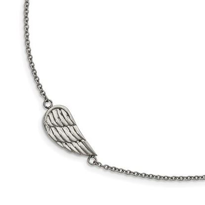 Picture of 6.25 inch Stainless Steel Polished and Brushed Angel Wing Bracelet with 1.25 inch extension