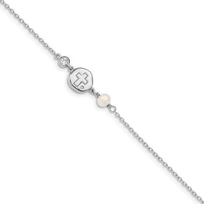 Picture of 6.75 inch Sterling Silver Rhodium-plated CZ, Cross and FWC Pearl Bracelet with 0.5 inch extension