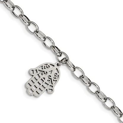 Picture of 7 inch Stainless Steel Polished Chamseh Hamsa Bracelet
