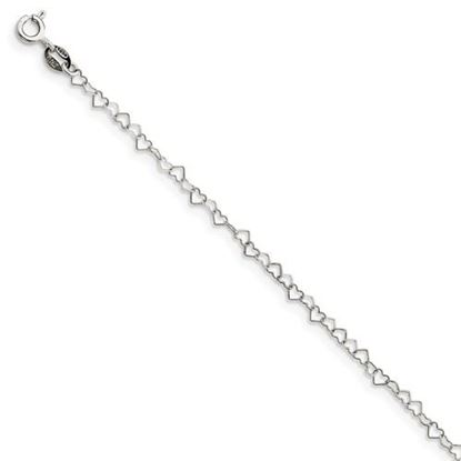Picture of 7 inch Sterling Silver 3.5mm Fancy Heart Link Bracelet
